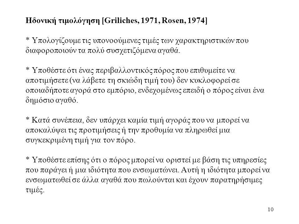 10 Ηδονική τιμολόγηση [Griliches, 1971, Rosen, 1974] * Υπολογίζουμε τις υπονοούμενες τιμές των χαρακτηριστικών που διαφοροποιούν τα πολύ συσχετιζόμενα αγαθά.