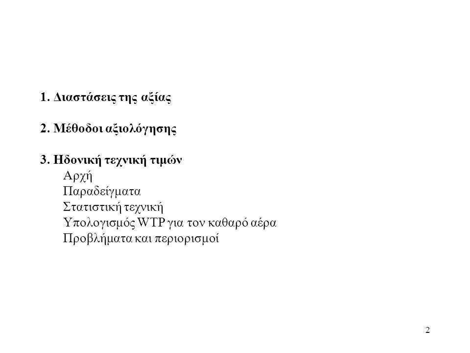 2 1.Διαστάσεις της αξίας 2. Μέθοδοι αξιολόγησης 3.