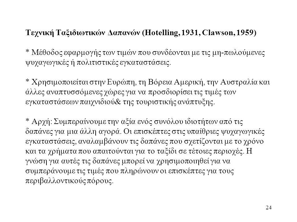 24 Τεχνική Ταξιδιωτικών Δαπανών (Hotelling, 1931, Clawson, 1959) * Μέθοδος εφαρμογής των τιμών που συνδέονται με τις μη-πωλούμενες ψυχαγωγικές ή πολιτιστικές εγκαταστάσεις.