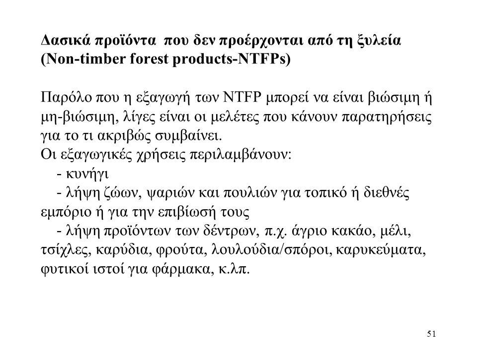 51 Δασικά προϊόντα που δεν προέρχονται από τη ξυλεία (Non-timber forest products-NTFPs) Παρόλο που η εξαγωγή των NTFP μπορεί να είναι βιώσιμη ή μη-βιώσιμη, λίγες είναι οι μελέτες που κάνουν παρατηρήσεις για το τι ακριβώς συμβαίνει.