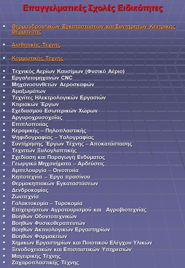 Επαγγελματικές Σχολές Ειδικότητες  Θερμοϋδραυλικών Εγκαταστάσεων και Συντηρητών Κεντρικής Θέρμανσης  Αισθητικής Τέχνης  Κομμωτικής Τέχνης  Τεχνικός Αερίων Καυσίμων (Φυσικό Αέριο)  Εργαλειομηχανών CNC  Μηχανοσυνθετών Αεροσκαφών  Αμαξωμάτων  Τεχνίτες Ηλεκτρολογικών Εργασιών  Κτιριακών Έργων  Σχεδιασμού Εσωτερικών Χώρων  Αργυροχρυσοχοΐας  Επιπλοποιίας  Κεραμικής – Πηλοπλαστικής  Ψηφιδογραφίας – Υαλογραφίας  Συντήρησης Έργων Τέχνης – Αποκατάστασης  Τεχνιτών Ξυλογλυπτικής  Σχεδίαση και Παραγωγή Ενδύματος  Γεωργικά Μηχανήματα – Αρδεύσεις  Αμπελουργία – Οινοποιία  Κηποτεχνία – Έργα πρασίνου  Θερμοκηπιακών Εγκαταστάσεων  Δενδροκομίας  Ζωοτεχνία  Γαλακτοκομία – Τυροκομία  Επιχειρήσεων Αγροτουρισμού και Αγροβιοτεχνίας  Βοηθών Οδοντοτεχνικών  Βοηθών Φυσικοθεραπευτών  Βοηθών Ακτινολογικών Εργαστηρίων  Βοηθών Φαρμακείων  Χημικών Εργαστηρίων και Ποιοτικού Ελέγχου Υλικών  Ξενοδοχειακών και Επισιτιστικών Υπηρεσιών  Μαγειρικής Τέχνης  Ζαχαροπλαστικής Τέχνης