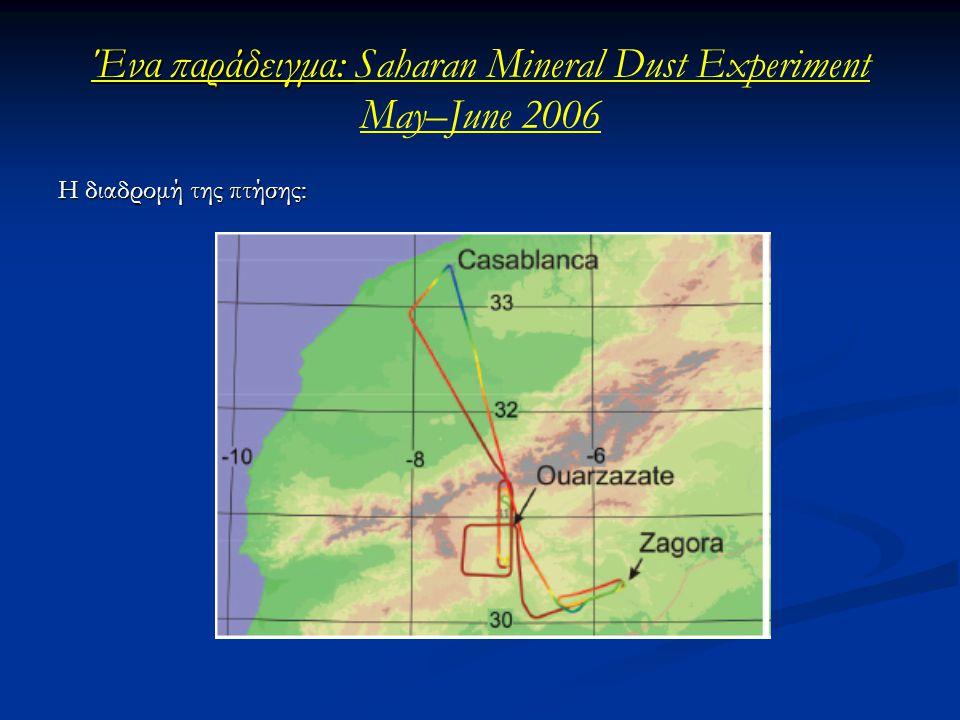 Ένα παράδειγμα: Ένα παράδειγμα: Saharan Mineral Dust Experiment May–June 2006 H διαδρομή της πτήσης: