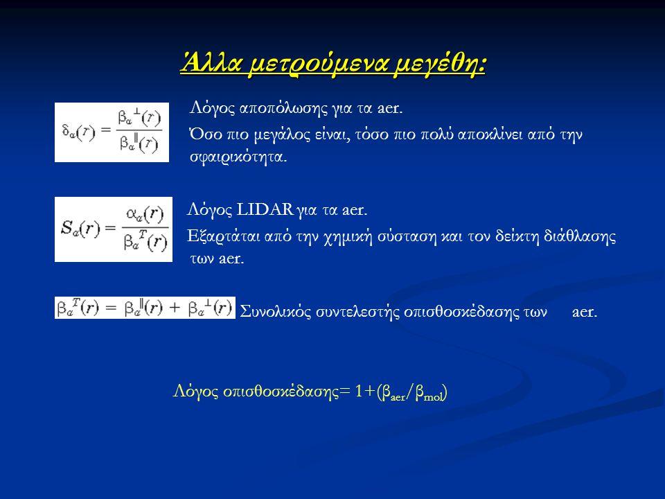 Άλλα μετρούμενα μεγέθη: Λόγος αποπόλωσης για τα aer. Όσο πιο μεγάλος είναι, τόσο πιο πολύ αποκλίνει από την σφαιρικότητα. Λόγος LIDAR για τα aer. Εξαρ