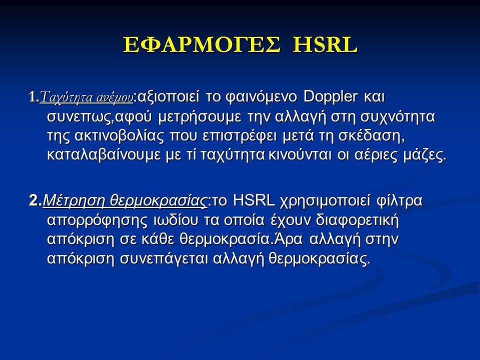 ΕΦΑΡΜΟΓΕΣ HSRL 1.Ταχύτητα ανέμου :αξιοποιεί το φαινόμενο Doppler και συνεπως,αφού μετρήσουμε την αλλαγή στη συχνότητα της ακτινοβολίας που επιστρέφει