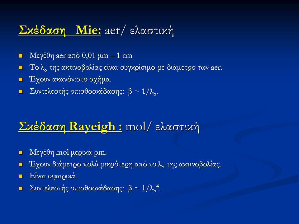 Σκέδαση Mie: aer/ ελαστική Σκέδαση Mie: aer/ ελαστική  Μεγέθη aer από 0,01 μm – 1 cm  Το λ ο της ακτινοβολίας είναι συγκρίσιμο με διάμετρο των aer.