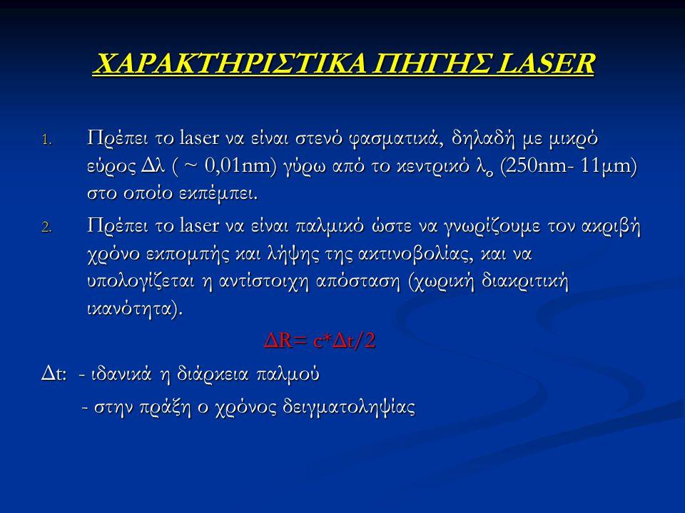ΧΑΡΑΚΤΗΡΙΣΤΙΚΑ ΠΗΓΗΣ LASER 1. Πρέπει το laser να είναι στενό φασματικά, δηλαδή με μικρό εύρος Δλ ( ~ 0,01nm) γύρω από το κεντρικό λ ο (250nm- 11μm) στ
