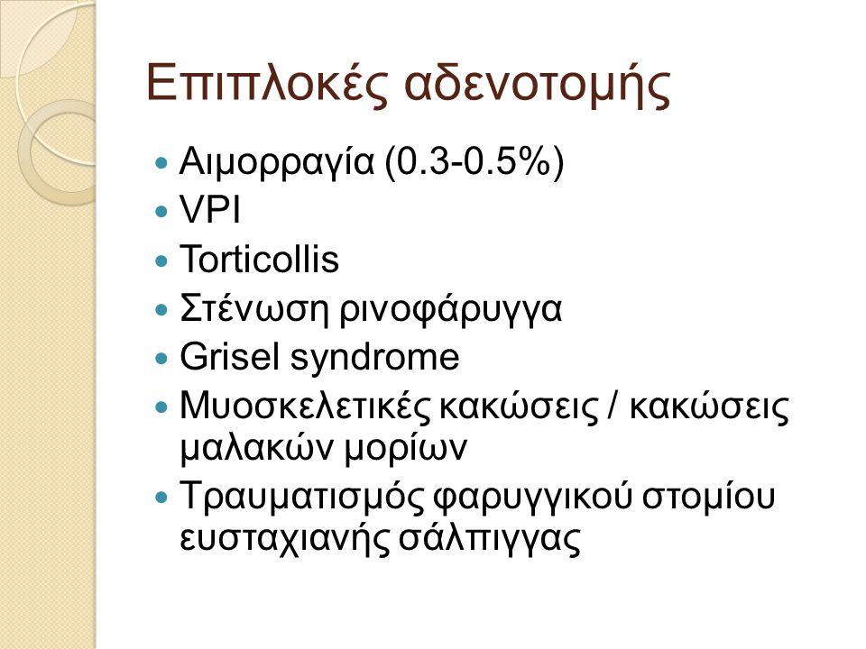 Επιπλοκές αδενοτομής  Αιμορραγία (0.3-0.5%)  VPI  Torticollis  Στένωση ρινοφάρυγγα  Grisel syndrome  Μυοσκελετικές κακώσεις / κακώσεις μαλακών μορίων  Τραυματισμός φαρυγγικού στομίου ευσταχιανής σάλπιγγας