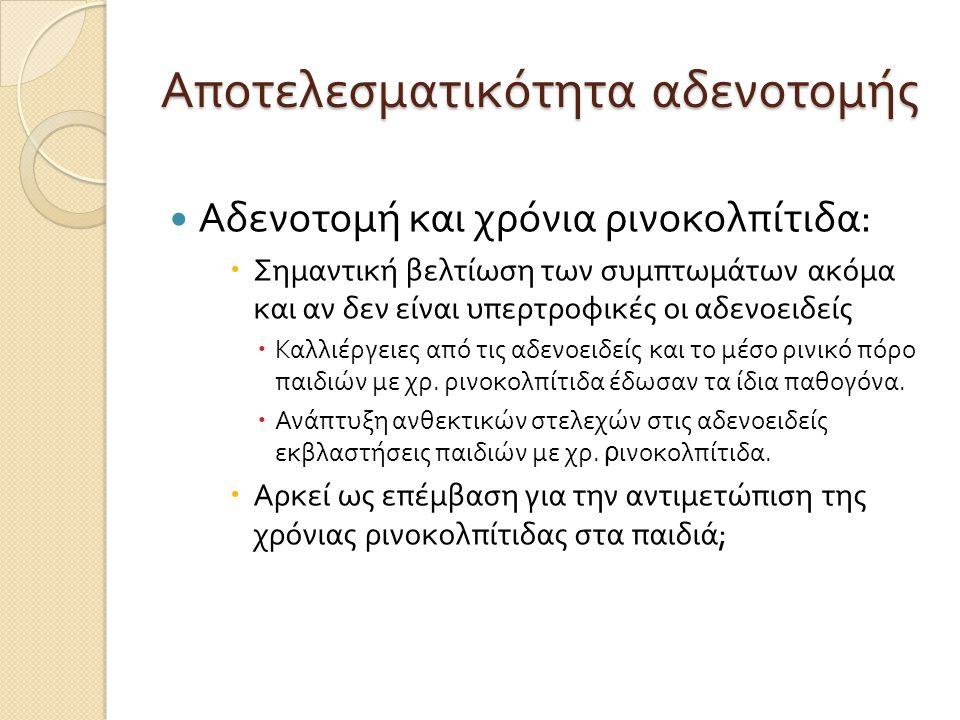 Αποτελεσματικότητα αδενοτομής  Αδενοτομή και χρόνια ρινοκολπίτιδα :  Σημαντική βελτίωση των συμπτωμάτων ακόμα και αν δεν είναι υπερτροφικές οι αδενοειδείς  Καλλιέργειες από τις αδενοειδείς και το μέσο ρινικό πόρο παιδιών με χρ.