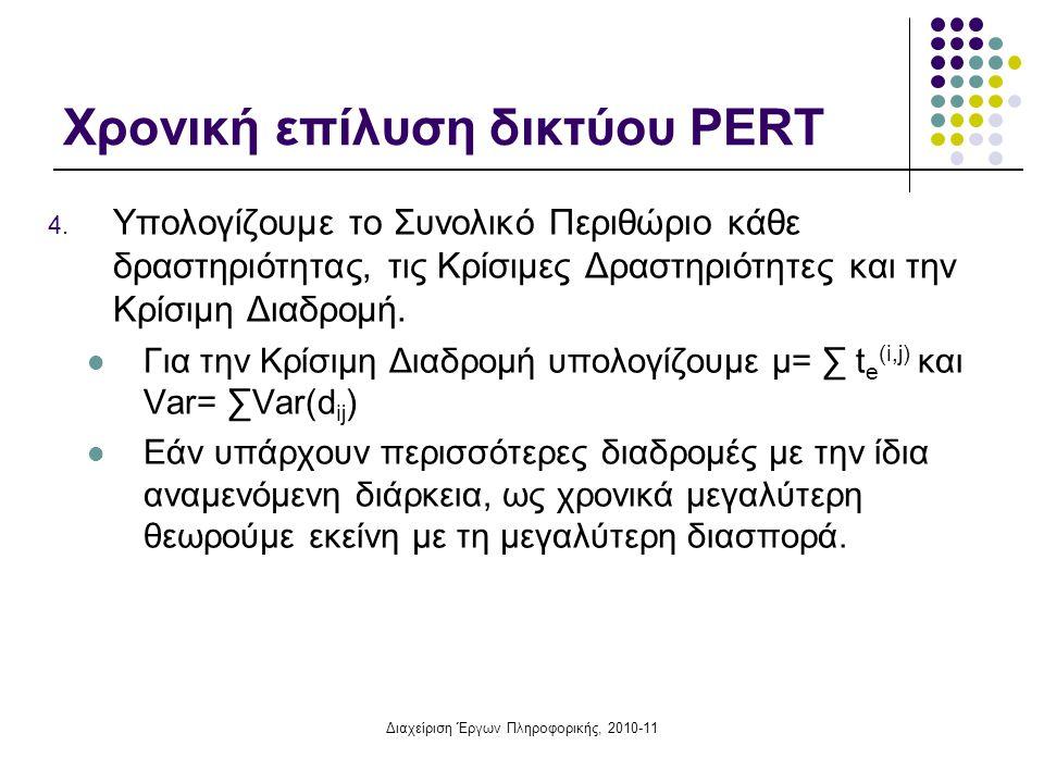 Διαχείριση Έργων Πληροφορικής, 2010-11 Χρονική επίλυση δικτύου PERT 4. Υπολογίζουμε το Συνολικό Περιθώριο κάθε δραστηριότητας, τις Κρίσιμες Δραστηριότ