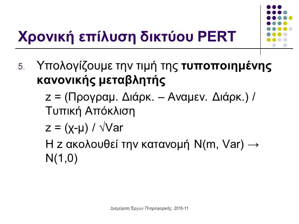 Διαχείριση Έργων Πληροφορικής, 2010-11 Χρονική επίλυση δικτύου PERT 5. Υπολογίζουμε την τιμή της τυποποιημένης κανονικής μεταβλητής z = (Προγραμ. Διάρ