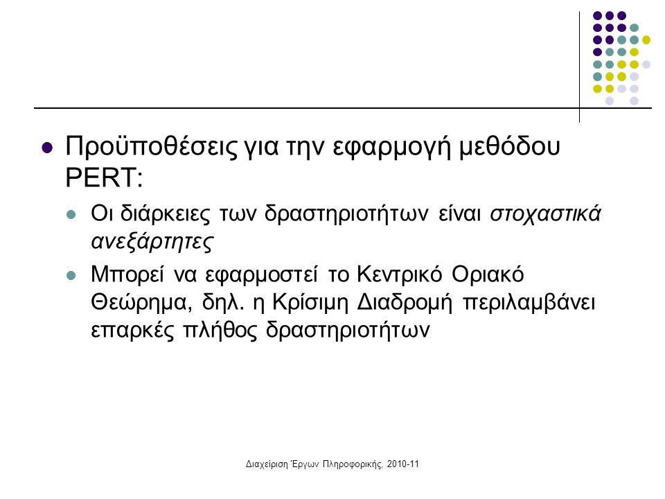Διαχείριση Έργων Πληροφορικής, 2010-11  Προϋποθέσεις για την εφαρμογή μεθόδου PERT:  Οι διάρκειες των δραστηριοτήτων είναι στοχαστικά ανεξάρτητες 