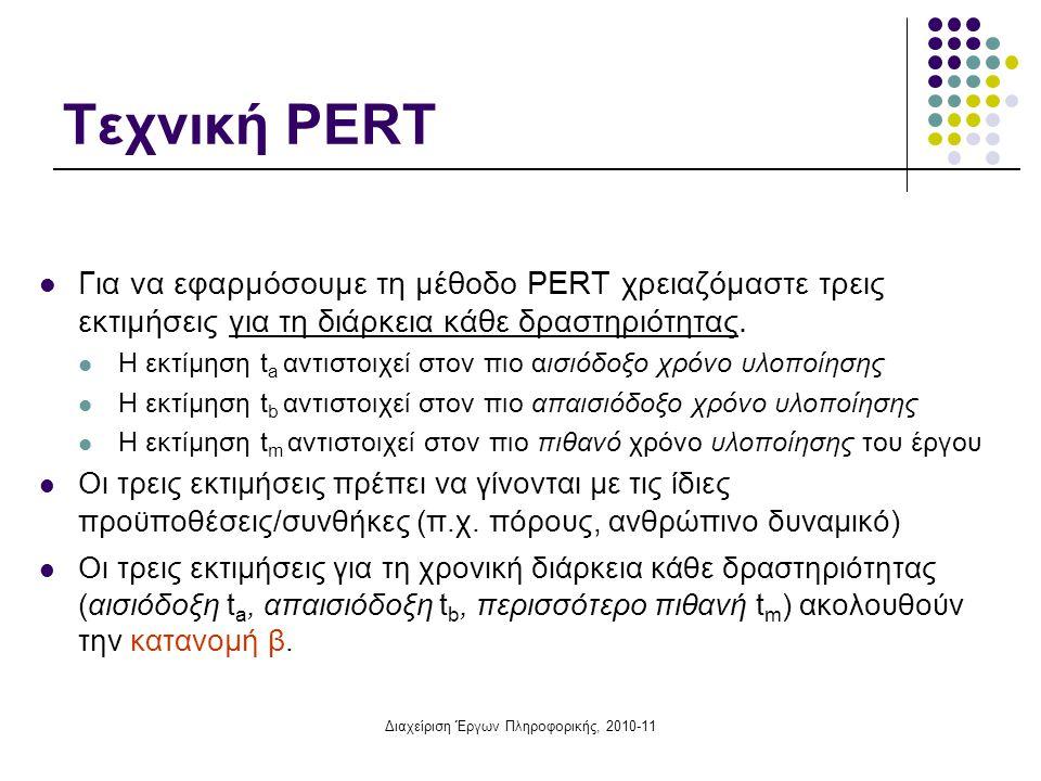 Διαχείριση Έργων Πληροφορικής, 2010-11 Τεχνική PERT  Για να εφαρμόσουμε τη μέθοδο PERT χρειαζόμαστε τρεις εκτιμήσεις για τη διάρκεια κάθε δραστηριότη