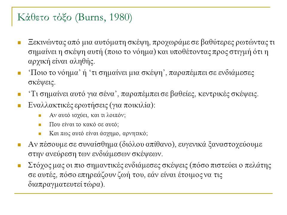Κάθετο τόξο (Burns, 1980)  Ξεκινώντας από μια αυτόματη σκέψη, προχωράμε σε βαθύτερες ρωτώντας τι σημαίνει η σκέψη αυτή (ποιο το νόημα) και υποθέτοντα