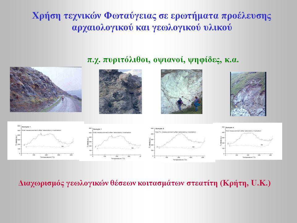 Xρήση τεχνικών Φωταύγειας σε ερωτήματα προέλευσης αρχαιολογικού και γεωλογικού υλικού π.χ. πυριτόλιθοι, οψιανοί, ψηφίδες, κ.α. Διαχωρισμός γεωλογικών