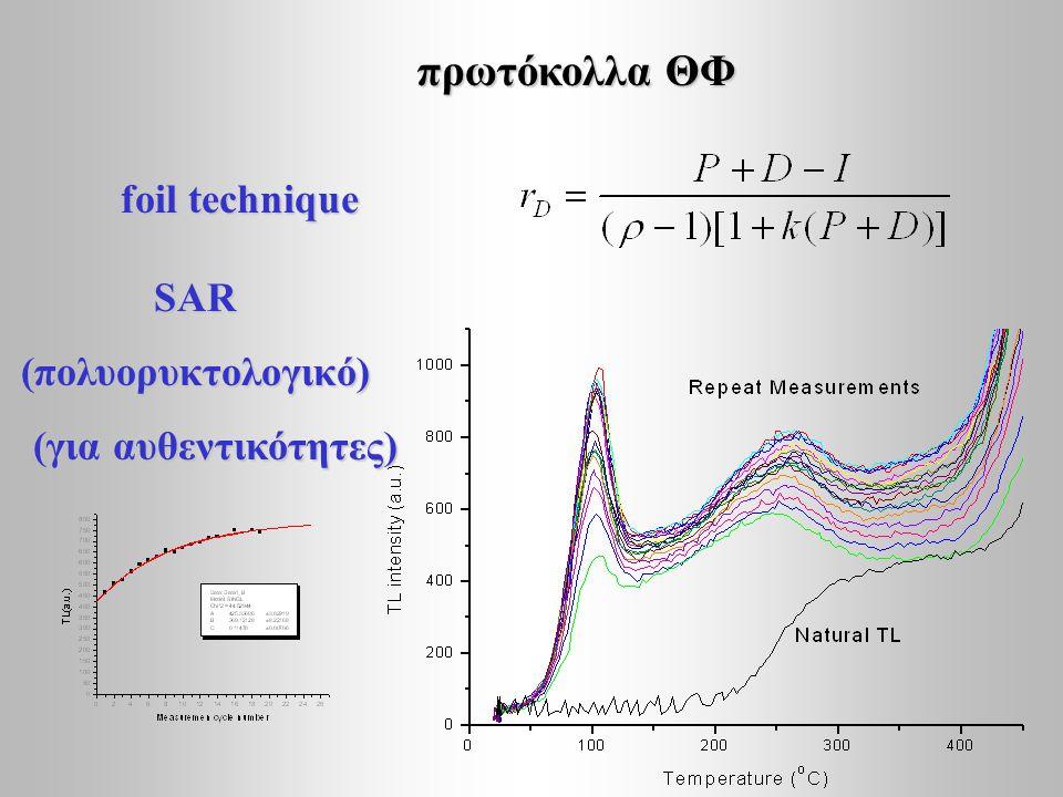 πρωτόκολλα ΘΦ foil technique SAR (πολυορυκτολογικό) (για αυθεντικότητες) (για αυθεντικότητες)