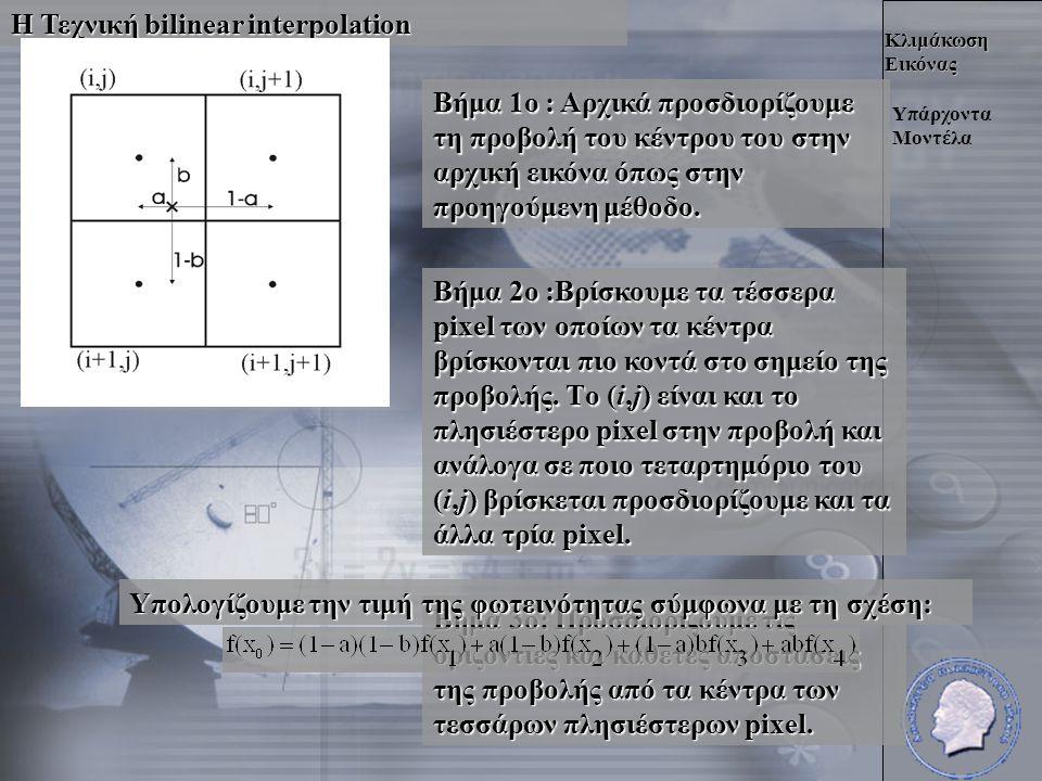Κλιμάκωση Εικόνας Η Τεχνική bilinear interpolation Υπάρχοντα Μοντέλα Βήμα 1ο : Αρχικά προσδιορίζουμε τη προβολή του κέντρου του στην αρχική εικόνα όπως στην προηγούμενη μέθοδο.
