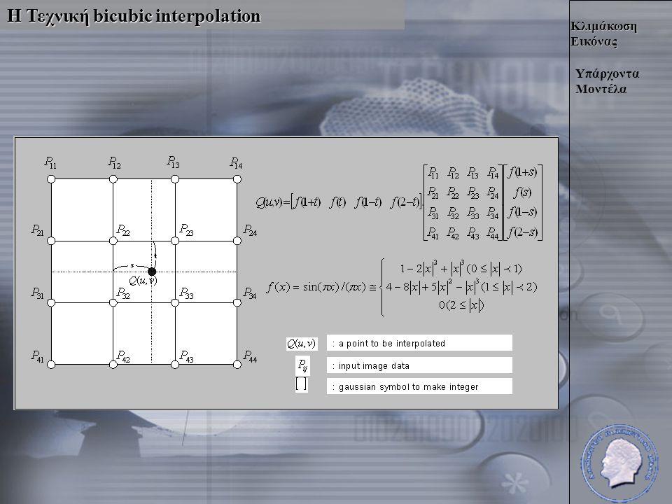 Κλιμάκωση Εικόνας Η Τεχνική bicubic interpolation Υπάρχοντα Μοντέλα