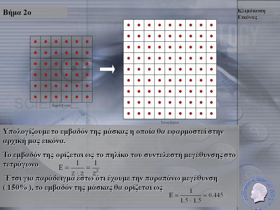Κλιμάκωση Εικόνας Βήμα 2ο Υπολογίζουμε το εμβαδόν της μάσκας η οποία θα εφαρμοστεί στην αρχική μας εικόνα.