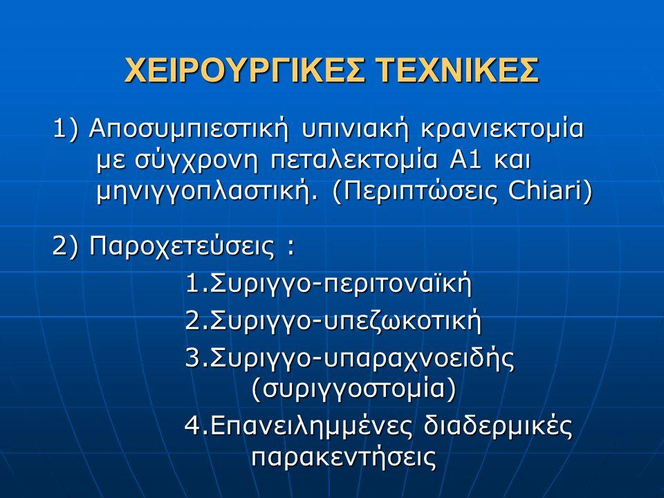 ΧΕΙΡΟΥΡΓΙΚΕΣ ΤΕΧΝΙΚΕΣ 1) Αποσυμπιεστική υπινιακή κρανιεκτομία με σύγχρονη πεταλεκτομία Α1 και μηνιγγοπλαστική. (Περιπτώσεις Chiari) 2) Παροχετεύσεις :