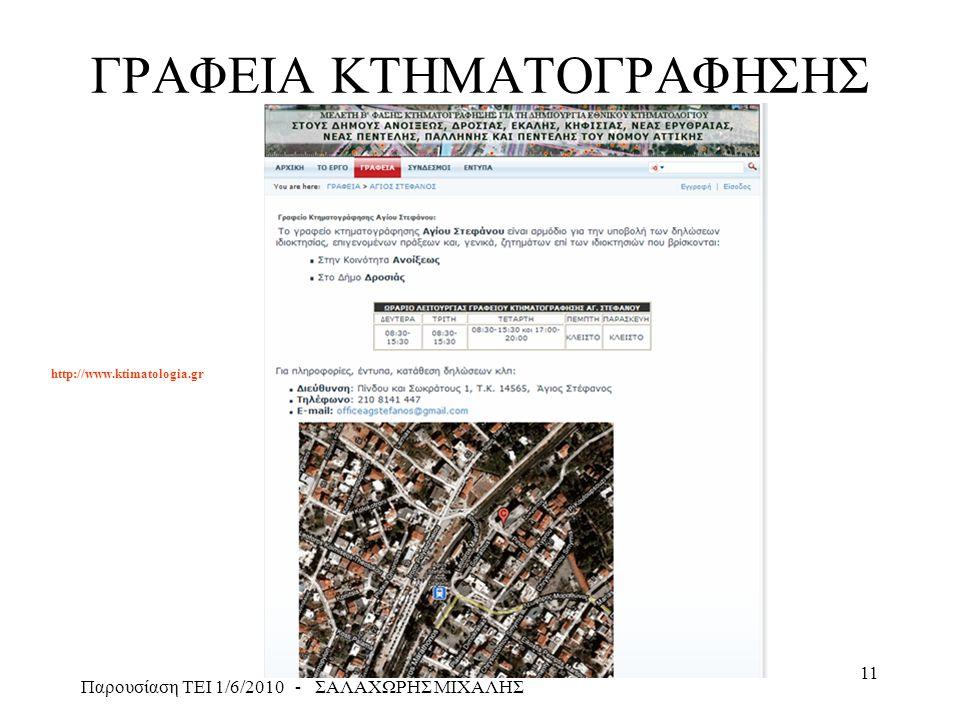 Παρουσίαση ΤΕΙ 1/6/2010 - ΣΑΛΑΧΩΡΗΣ ΜΙΧΑΛΗΣ 11 ΓΡΑΦΕΙΑ ΚΤΗΜΑΤΟΓΡΑΦΗΣΗΣ http://www.ktimatologia.gr