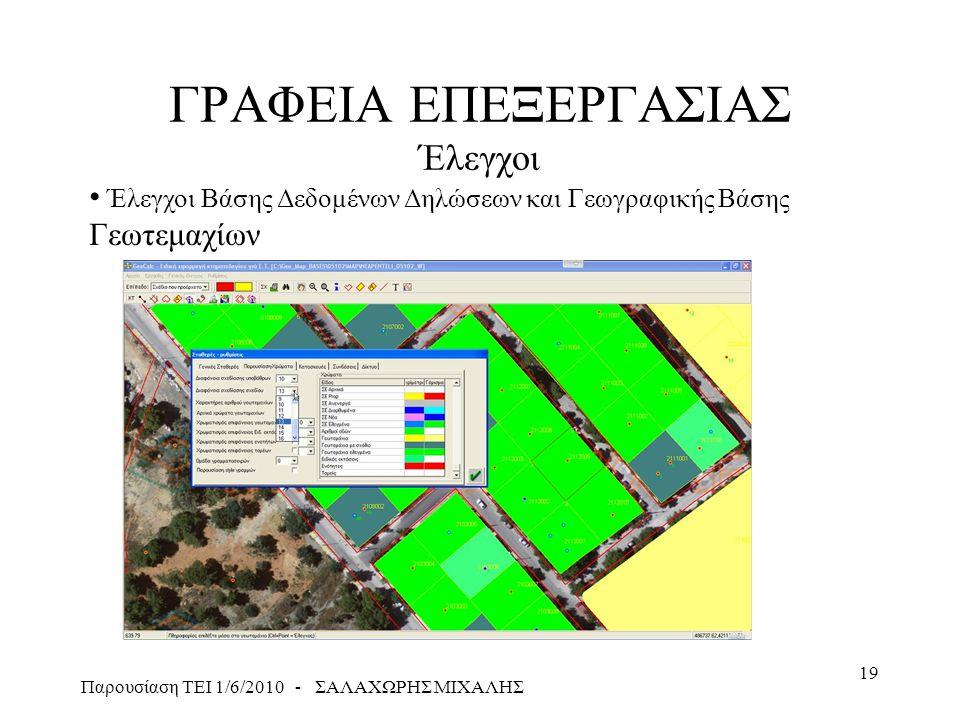 Παρουσίαση ΤΕΙ 1/6/2010 - ΣΑΛΑΧΩΡΗΣ ΜΙΧΑΛΗΣ 19 ΓΡΑΦΕΙΑ ΕΠΕΞΕΡΓΑΣΙΑΣ Έλεγχοι • Έλεγχοι Βάσης Δεδομένων Δηλώσεων και Γεωγραφικής Βάσης Γεωτεμαχίων