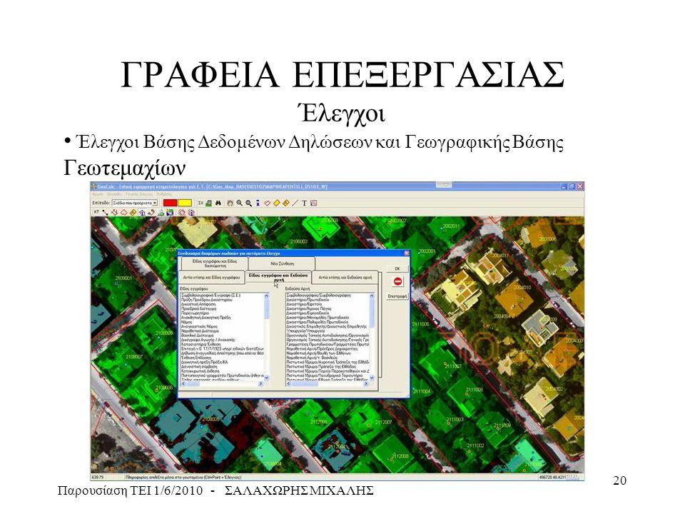 Παρουσίαση ΤΕΙ 1/6/2010 - ΣΑΛΑΧΩΡΗΣ ΜΙΧΑΛΗΣ 20 ΓΡΑΦΕΙΑ ΕΠΕΞΕΡΓΑΣΙΑΣ Έλεγχοι • Έλεγχοι Βάσης Δεδομένων Δηλώσεων και Γεωγραφικής Βάσης Γεωτεμαχίων