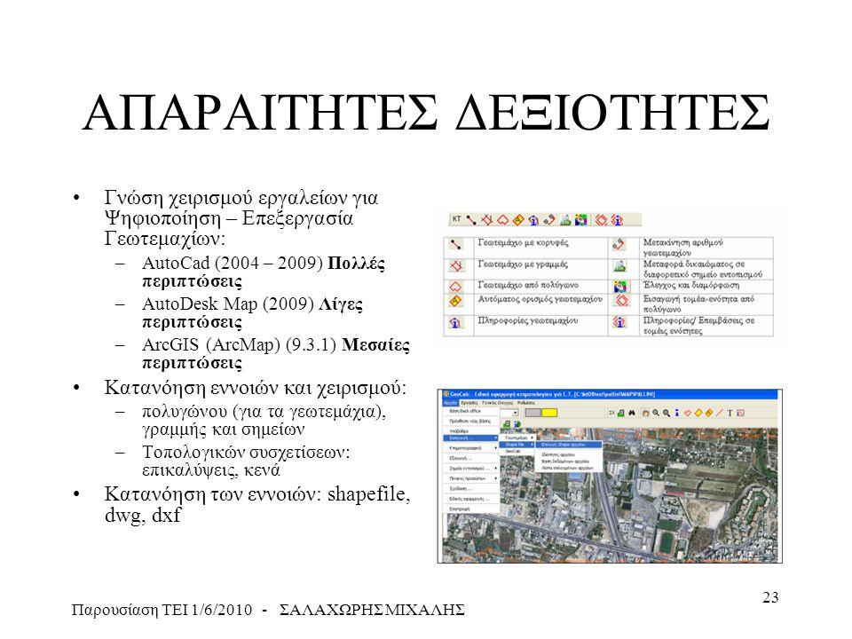 Παρουσίαση ΤΕΙ 1/6/2010 - ΣΑΛΑΧΩΡΗΣ ΜΙΧΑΛΗΣ 23 ΑΠΑΡΑΙΤΗΤΕΣ ΔΕΞΙΟΤΗΤΕΣ •Γνώση χειρισμού εργαλείων για Ψηφιοποίηση – Επεξεργασία Γεωτεμαχίων: –AutoCad (