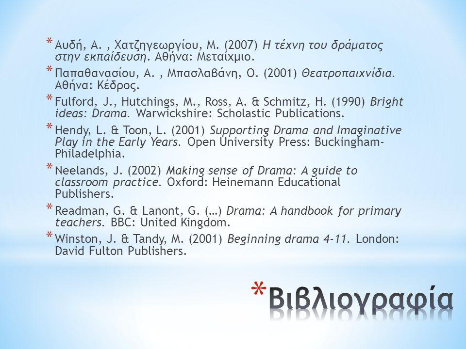 * Αυδή, Α., Χατζηγεωργίου, Μ.(2007) Η τέχνη του δράματος στην εκπαίδευση.