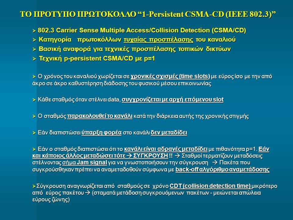 """ΤΟ ΠΡΟΤΥΠΟ ΠΡΩΤΟΚΟΛΛΟ """"1-Persistent CSMA-CD (IEEE 802.3)""""  802.3 Carrier Sense Multiple Access/Collision Detection (CSMA/CD)  Κατηγορία πρωτοκόλλων"""