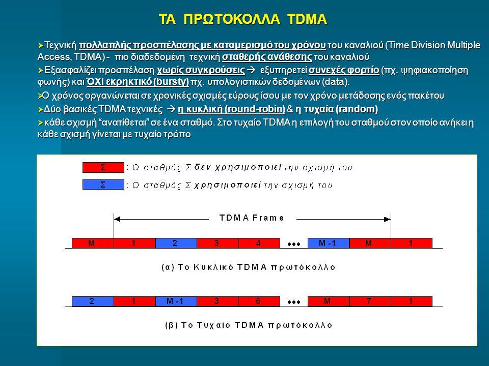 ΤΑ ΠΡΩΤΟΚΟΛΛΑ TDMA  Τεχνική πολλαπλής προσπέλασης με καταμερισμό του χρόνου του καναλιού (Time Division Multiple Access, TDMA) - πιο διαδεδομένη τεχν