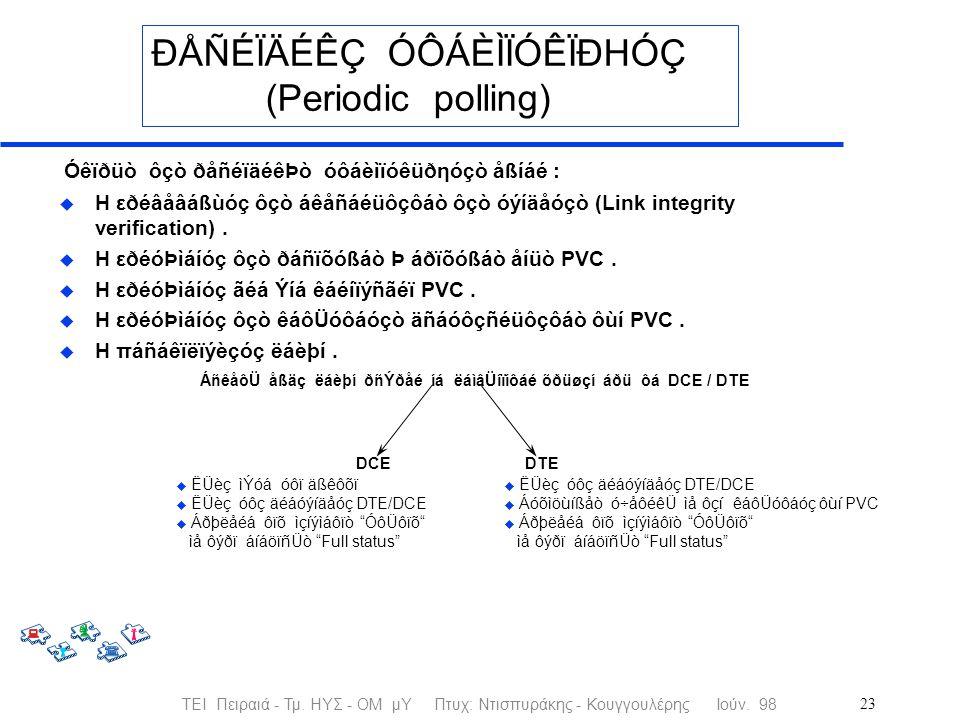 ΤΕΙ Πειραιά - Τμ. ΗΥΣ - ΟΜ μΥ Πτυχ: Ντισπυράκης - Κουγγουλέρης Ιούν. 9823 ÐÅÑÉÏÄÉÊÇ ÓÔÁÈÌÏÓÊÏÐHÓÇ (Periodic polling) Óêïðüò ôçò ðåñéïäéêÞò óôáèìïóêüðη