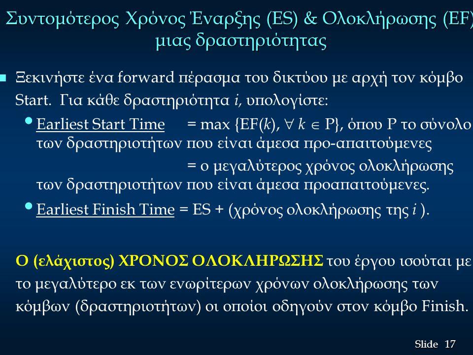 18 Slide Παράδειγμα: Frank's Fine Floats (5) n Συντομότεροι χρόνοι Έναρξης και Ολοκλήρωσης n n κόμβοι οι οποίοι οδηγούν στον κόμβο Finish οι: F, G και H n (ελάχιστος) χρόνος ολοκλήρωσης του έργου = 18 = max{9, 18, 7} Start Finish 3 6 B 3 6 9 D 3 0 3 A 3 3 5 C 2 12 18 G 6 6 9 F 3 5 7 H 2 5 12 E 7 max{6, 5}