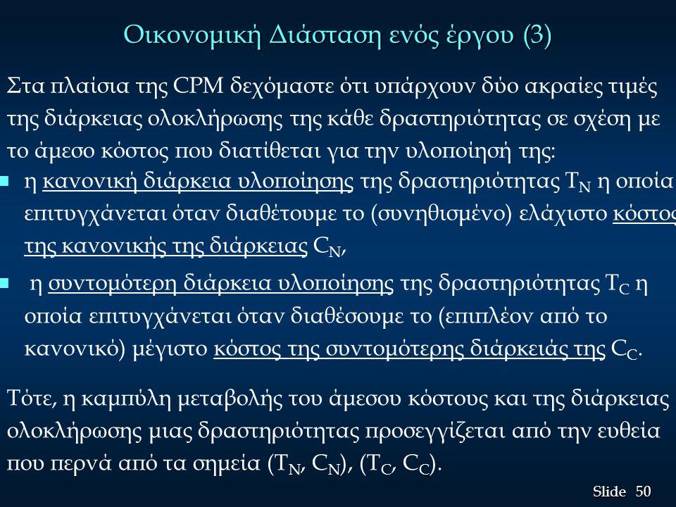 51 Slide Οικονομική Διάσταση ενός έργου (4) Έτσι το μοναδιαίο κόστος συντόμευσης MC της διάρκειας μιας δραστηριότητας, η αύξηση δηλαδή του κόστους για κάθε μονάδα του χρόνου που μειώνεται η διάρκεια της δραστηριότητας, δίνεται από την κλίση της ευθείας: MC = (C C - C N )/(T N - T C ) = AC/R.