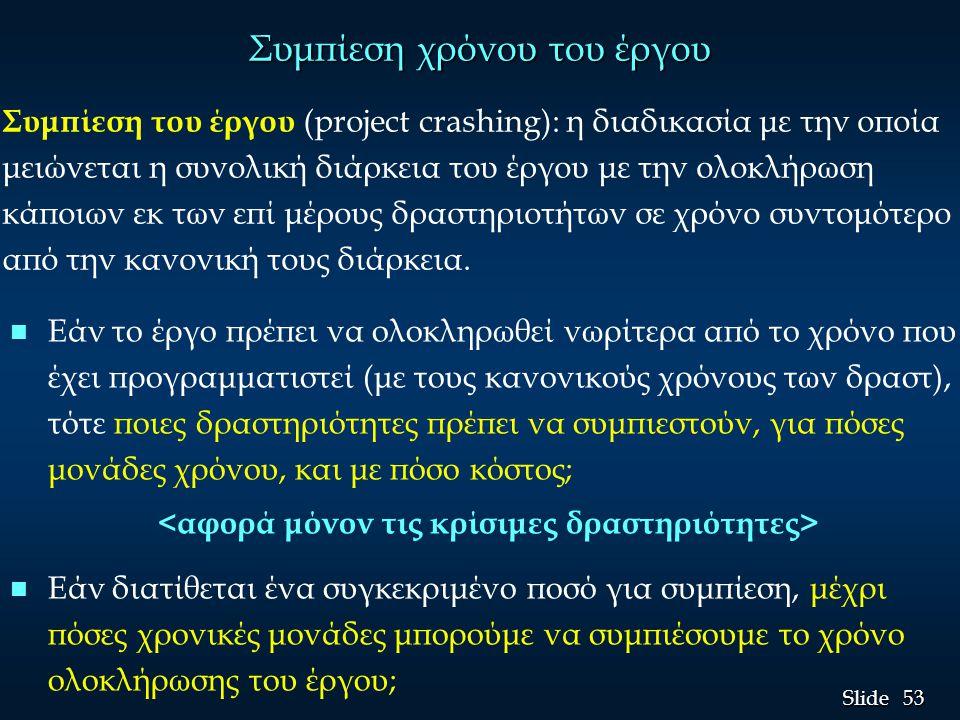 54 Slide Παράδειγμα: Beasley επανασχεδιασμός προϊόντος (1) Θεωρήστε το έργο Immed.