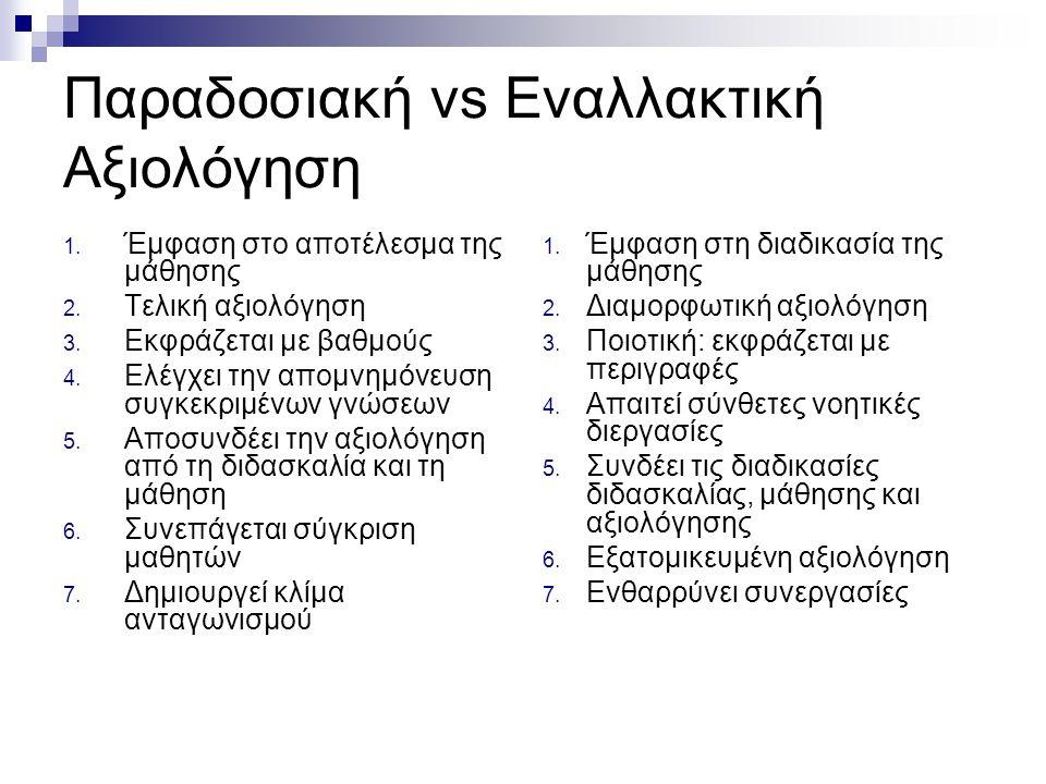 Παραδοσιακή vs Εναλλακτική Αξιολόγηση 1. Έμφαση στο αποτέλεσμα της μάθησης 2. Τελική αξιολόγηση 3. Εκφράζεται με βαθμούς 4. Ελέγχει την απομνημόνευση