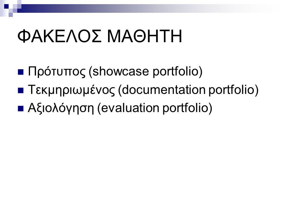 ΦΑΚΕΛΟΣ ΜΑΘΗΤΗ  Πρότυπος (showcase portfolio)  Τεκμηριωμένος (documentation portfolio)  Αξιολόγηση (evaluation portfolio)