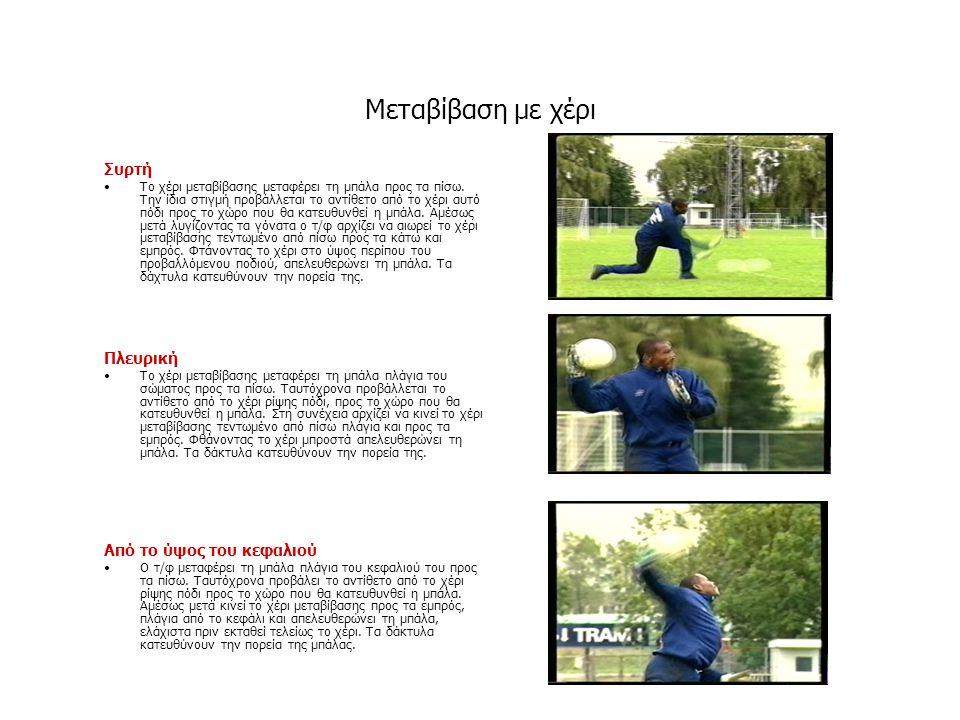Μεταβίβαση με χέρι Συρτή •Το χέρι μεταβίβασης μεταφέρει τη μπάλα προς τα πίσω. Την ίδια στιγμή προβάλλεται το αντίθετο από το χέρι αυτό πόδι προς το χ