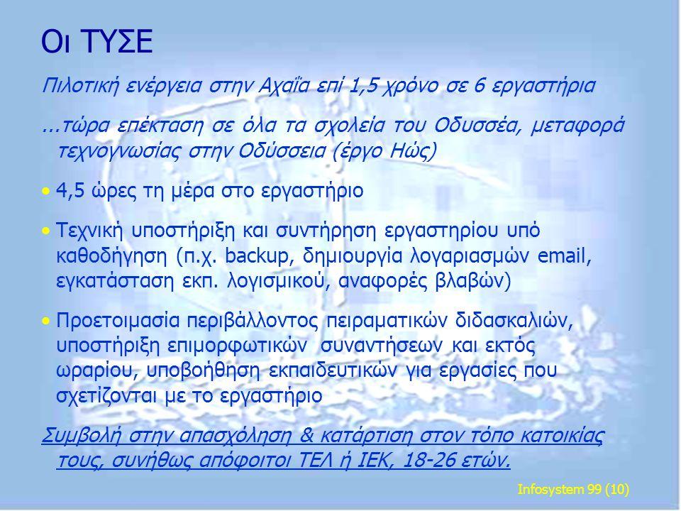 Infosystem 99 (10) Οι ΤΥΣΕ Πιλοτική ενέργεια στην Αχαΐα επί 1,5 χρόνο σε 6 εργαστήρια...τώρα επέκταση σε όλα τα σχολεία του Οδυσσέα, μεταφορά τεχνογνω