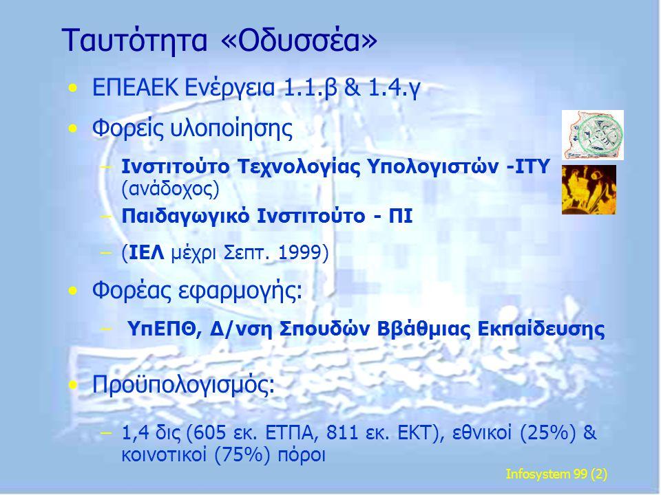 Infosystem 99 (2) Ταυτότητα «Οδυσσέα» • •ΕΠΕΑΕΚ Ενέργεια 1.1.β & 1.4.γ • •Φορείς υλοποίησης – –Ινστιτούτο Τεχνολογίας Υπολογιστών -ΙΤΥ (ανάδοχος) – –Π
