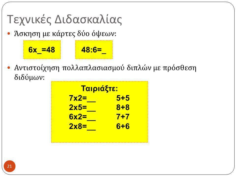 Τεχνικές Διδασκαλίας 21  Άσκηση με κάρτες δύο όψεων :  Αντιστοίχηση πολλαπλασιασμού διπλών με πρόσθεση διδύμων : 6x_=4848:6=_ Ταιριάξτε: 7x2=__ 5+5