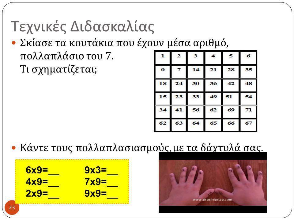 Τεχνικές Διδασκαλίας 23  Σκίασε τα κουτάκια που έχουν μέσα αριθμό, πολλαπλάσιο του 7. Τι σχηματίζεται ;  Κάντε τους πολλαπλασιασμούς, με τα δάχτυλά