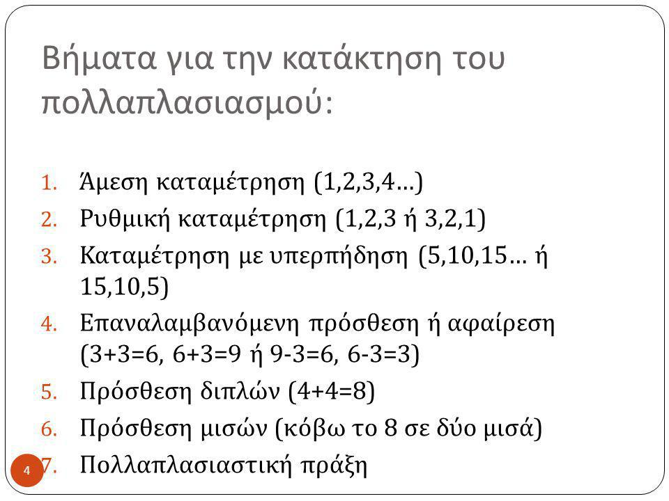 Βήματα για την κατάκτηση του πολλαπλασιασμού : 4 1. Άμεση καταμέτρηση (1,2,3,4…) 2. Ρυθμική καταμέτρηση (1,2,3 ή 3,2,1) 3. Καταμέτρηση με υπερπήδηση (