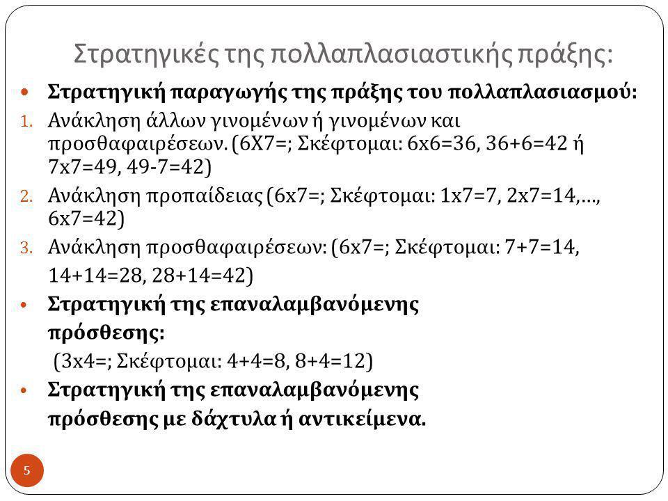 Στρατηγικές της πολλαπλασιαστικής πράξης : 5  Στρατηγική παραγωγής της πράξης του πολλαπλασιασμού : 1. Ανάκληση άλλων γινομένων ή γινομένων και προσθ