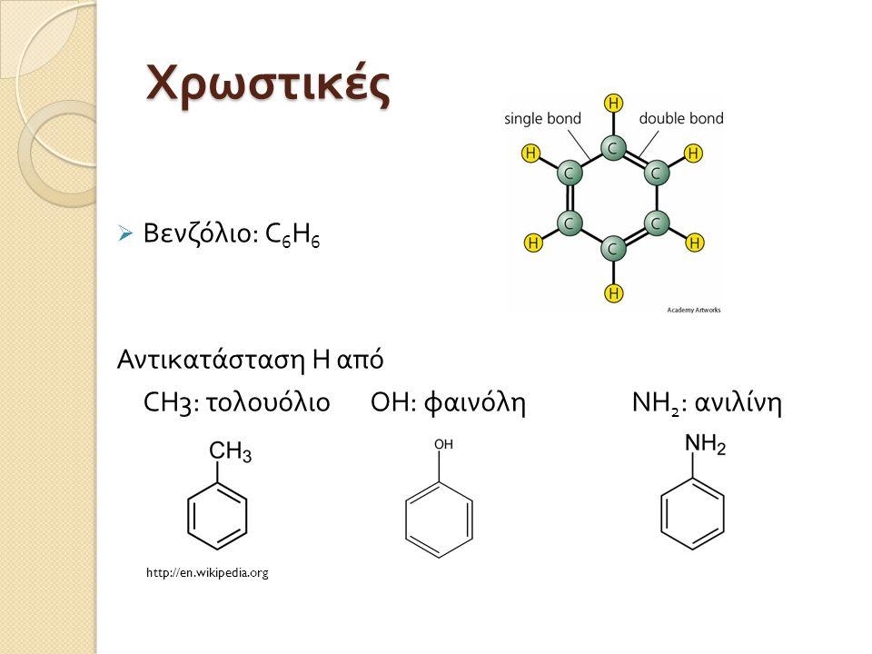 Χρωστικές  Βενζόλιο : C 6 H 6 Αντικατάσταση Η από CH3 : τολουόλιοOH : φαινόληNH 2 : ανιλίνη http://en.wikipedia.org