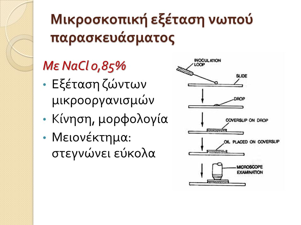 Μικροσκοπική εξέταση νωπού παρασκευάσματος Με NaCl 0,85% • Εξέταση ζώντων μικροοργανισμών • Κίνηση, μορφολογία • Μειονέκτημα : στεγνώνει εύκολα