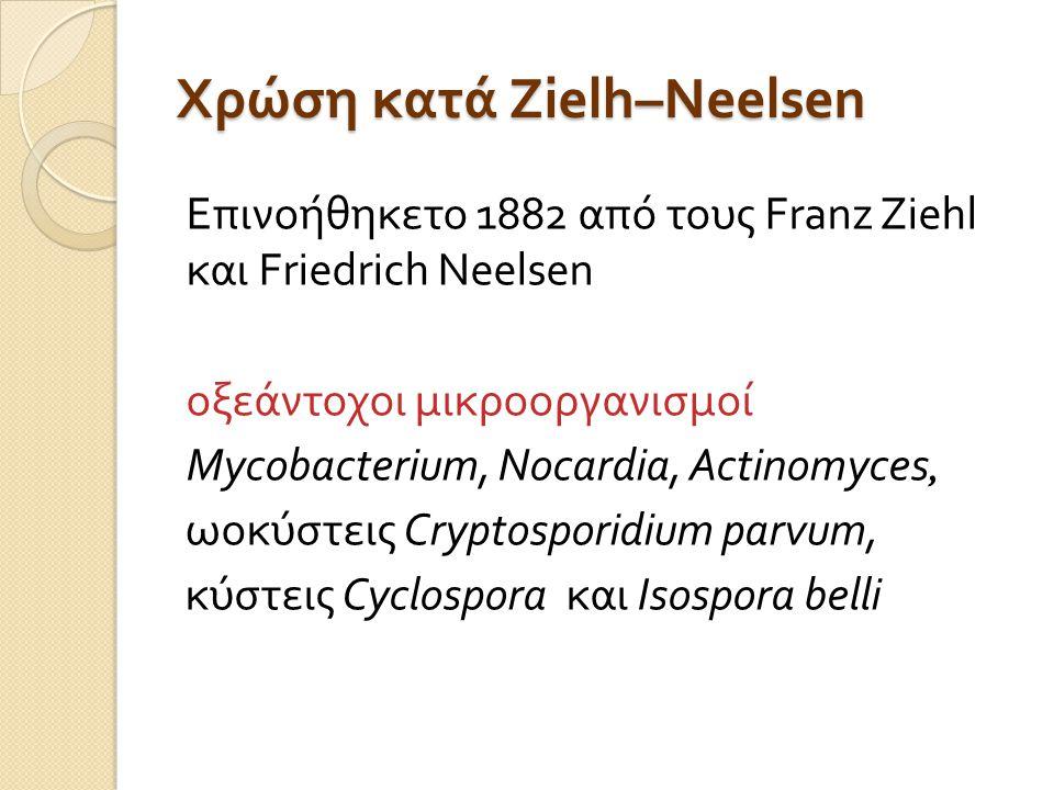 Χρώση κατά Zielh–Neelsen Επινοήθηκετο 1882 από τους Franz Ziehl και Friedrich Neelsen οξεάντοχοι μικροοργανισμοί Mycobacterium, Nocardia, Actinomyces, ωοκύστεις Cryptosporidium parvum, κύστεις Cyclospora και Isospora belli