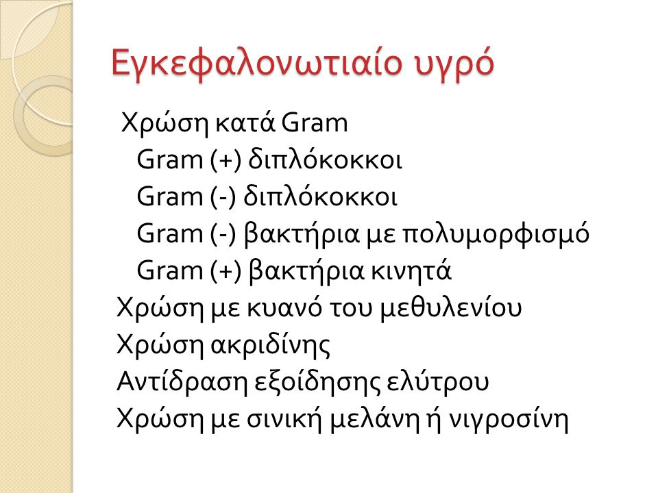 Εγκεφαλονωτιαίο υγρό Χρώση κατά Gram Gram (+) διπλόκοκκοι Gram (-) διπλόκοκκοι Gram (-) βακτήρια με πολυμορφισμό Gram (+) βακτήρια κινητά Χρώση με κυανό του μεθυλενίου Χρώση ακριδίνης Αντίδραση εξοίδησης ελύτρου Χρώση με σινική μελάνη ή νιγροσίνη