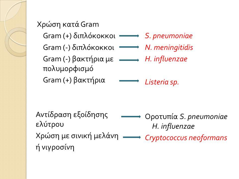 Χρώση κατά Gram Gram (+) διπλόκοκκοι Gram (-) διπλόκοκκοι Gram (-) βακτήρια με πολυμορφισμό Gram (+) βακτήρια Αντίδραση εξοίδησης ελύτρου Χρώση με σινική μελάνη ή νιγροσίνη S.