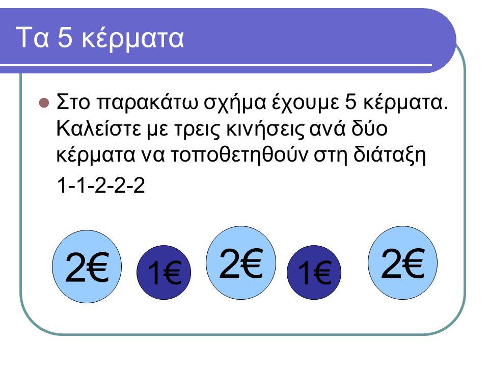 Τα 5 κέρματα  Στο παρακάτω σχήμα έχουμε 5 κέρματα. Καλείστε με τρεις κινήσεις ανά δύο κέρματα να τοποθετηθούν στη διάταξη 1-1-2-2-2 2€2€ 2€2€2€2€ 1€