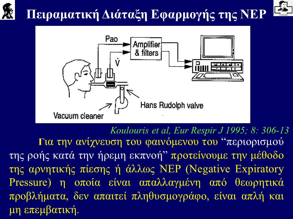 """Γ ια την ανίχνευση του φαινόμενου του """"περιορισμού της ροής κατά την ήρεμη εκπνοή"""" προτείνουμε την μέθοδο της αρνητικής πίεσης ή άλλως NEP (Negative E"""